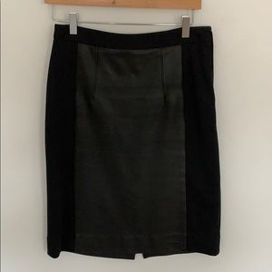 Faux Leather and knit pencil skirt